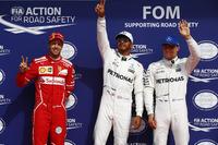 Top 3 after qualifying: Polesitter Lewis Hamilton, Mercedes AMG F, second place Sebastian Vettel, Ferrari  third place Valtteri Bottas, Mercedes AMG F1