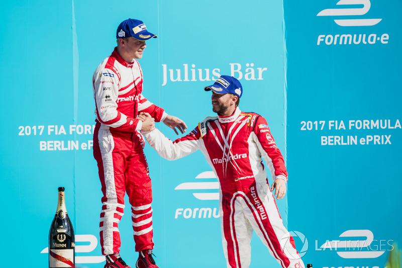 1. Felix Rosenqvist, Mahindra Racing; 3. Nick Heidfeld, Mahindra Racing