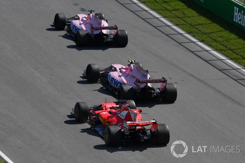 Серхіо Перес, Естебан Окон, Sahara Force India VJM10, Себастьян Феттель, Ferrari SF70H battle