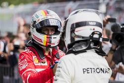 Second place Sebastian Vettel, Ferrari, congratulates Race winner Valtteri Bottas, Mercedes AMG F1,