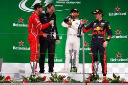 Podium: second place Sebastian Vettel, Ferrari, Aldo Costa, Engineering Director, Mercedes AMG, Race