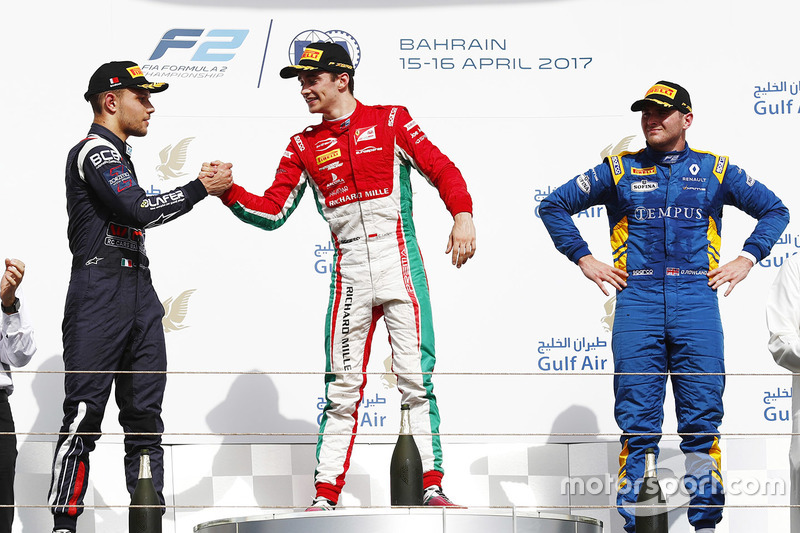 Podium: ganador, Charles Leclerc, PREMA Racing, segundo, Luca Ghiotto, RUSSIAN TIME, tercero, Oliver Rowland, DAMS