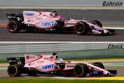 Force India VJM10, shark fin comprasion