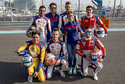 Trident team photo with GP2 and GP3 drivers Philo Paz Armand, Trident, Luca Ghiotto, Trident, Antonio Fuoco, Trident, Artur Janosz, Trident, Giuliano Alesi, Trident and Sandy Stuvik, Trident