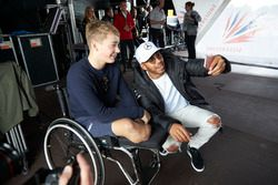 Lewis Hamilton, Mercedes AMG F1, injured British Formula 4 racer Billy Monger
