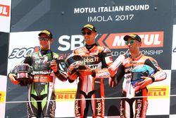 Podio: ganador de la carrera Chaz Davies, Ducati Team, segundo Jonathan Rea, Kawasaki Racing, y ter