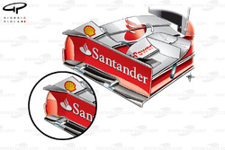 Ferrari F138 front wing endplates comparison, United States GP
