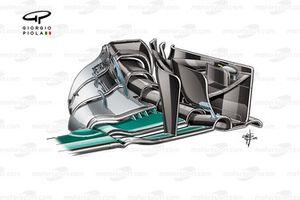Переднее антикрыло Mercedes F1 W07 с новой торцевой пластиной