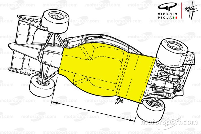 """أرضيّة سيارة فيراري """"اف1-90"""" (641) من موسم 1990"""