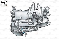 Vue de dessous de l'emplacement de la boîte de vitesses de la Minardi PS01