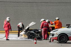 #4 Corvette Racing Chevrolet Corvette C7.R: Oliver Gavin, Tommy Milner, Marcel Fässler after a big fire