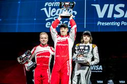 Podium: 3rd Place, Felix Rosenqvist, Mahindra Racing, 1st Place, Olli Pahkala, Mahindra Racing and 2nd Place, Bono Huis, Faraday Future Dragon Racing