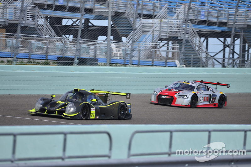 #23 MP1A Audi R8 GT3 LMS driven by Walt Bowlin, Larry Pegram, & David Ostella of M1GT Racing, #27 FP1 Ligier LMP3 driven by Guy Cosmo & Patrick Byrne of LMP Motorsports
