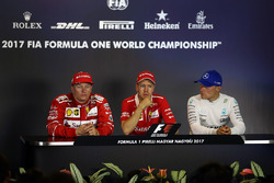 Press conference: race winner Sebastian Vettel, Ferrari, second place Kimi Raikkonen, Ferrari, third place Valtteri Bottas, Mercedes AMG F1