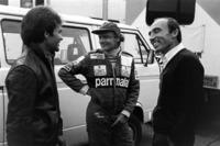Peter Windsor mit Niki Lauda, McLaren, und Frank Williams, Williams-Teamchef