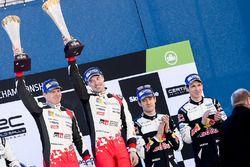 Podium: winnaars Jari-Matti Latvala, Miikka Anttila, Toyota Racing, derde plaats Sébastien Ogier, Ju