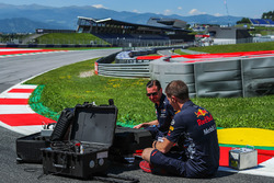 Red Bull Racing engineers on track
