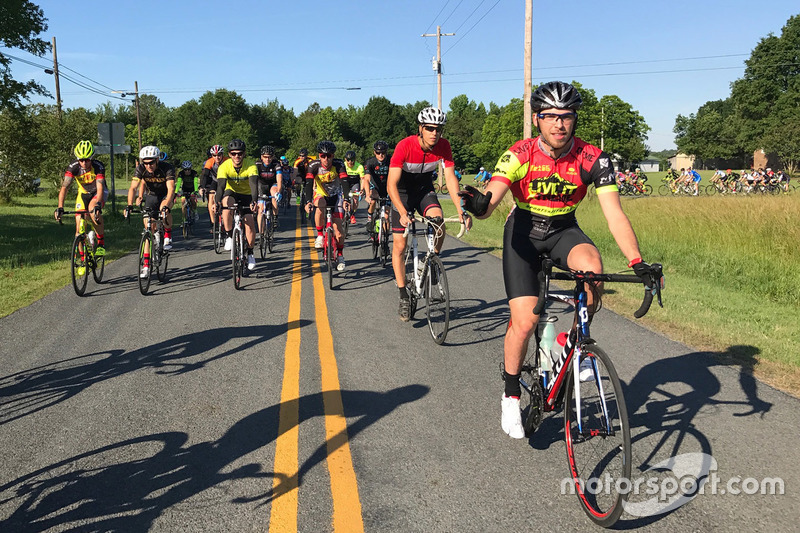 Cyclists on a 69 mile ride honoring Nicky Hayden