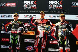 Pole sitter Chaz Davies, Ducati Team, second place Jonathan Rea, Kawasaki Racing, third place Tom Sy
