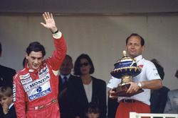 Ayrton Senna, McLaren Honda, 1st position with team boss Ron Dennis, podium