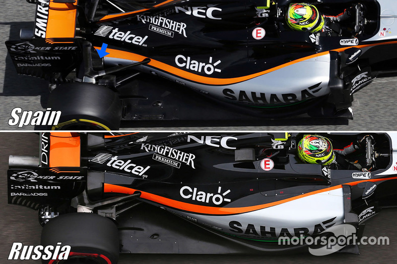 Sahara Force India F1 VJM09 comparación de la suspensión