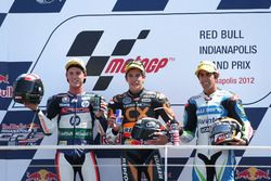 Podium: second place Pol Espargaro, Race winner Marc Marquez, third place Julián Simón