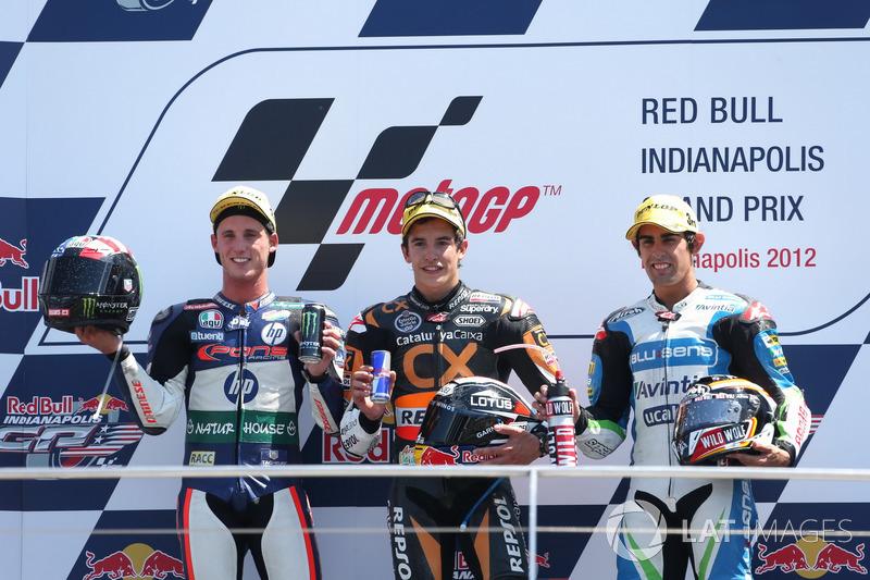 Le podium du GP d'Indianapolis 2012 de Moto2 : Marc Márquez, Pol Espargaró, Julián Simón