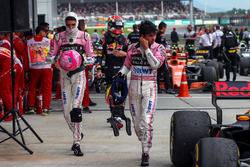 Esteban Ocon, Sahara Force India and Sergio Perez, Sahara Force India in parc ferme