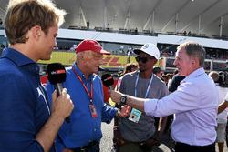 Nico Rosberg, ambassadeur Mercedes-Benz, Niki Lauda, directeur non-exécutif Mercedes AMG F1, Mo Farah, Martin Brundle, Sky TV
