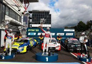 Podium: Race winner René Rast, Audi Sport Team Rosberg, second place Mike Rockenfeller, Audi Sport Team Phoenix, third place Lucas Auer, BMW Team RMG