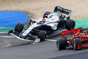 Sebastian Vettel, Ferrari SF1000 with Kimi Raikkonen, Alfa Romeo Racing C39 and George Russell, Williams FW43 crashing