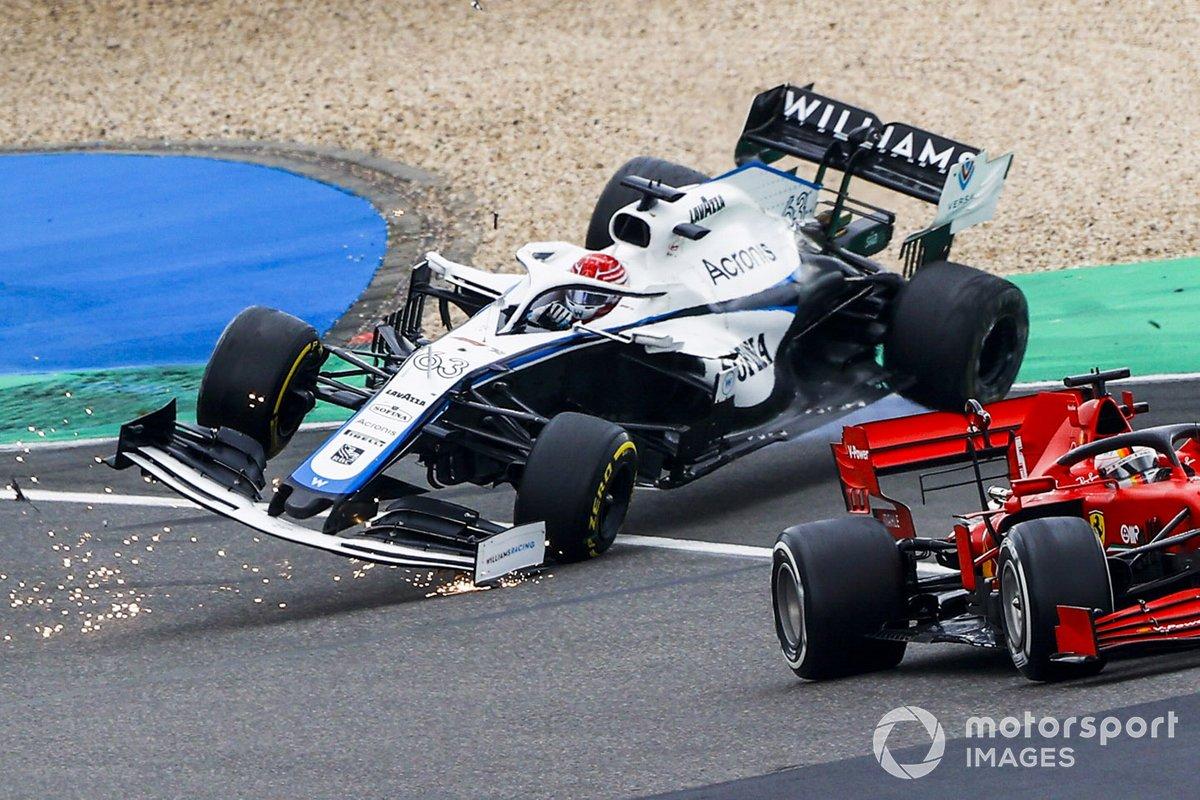 Sebastian Vettel, Ferrari SF1000 avec Kimi Raikkonen, Alfa Romeo Racing C39 et George Russell, Williams FW43 crashing