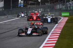 Kevin Magnussen, Haas VF-20, Nicholas Latifi, Williams FW43, and Sebastian Vettel, Ferrari SF1000
