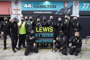 Lewis Hamilton, Mercedes-AMG F1, 1st position, and the Mercedes team celebrate after securing 91 race wins for Lewis, equalling the record of Michael Schumacher
