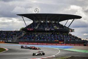 Antonio Giovinazzi, Alfa Romeo Racing C39, Sebastian Vettel, Ferrari SF1000, and Kimi Raikkonen, Alfa Romeo Racing C39