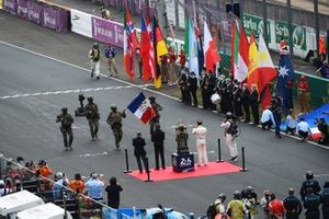 The 24 Hours of Le Mans starter's flag is delivered by the French Army