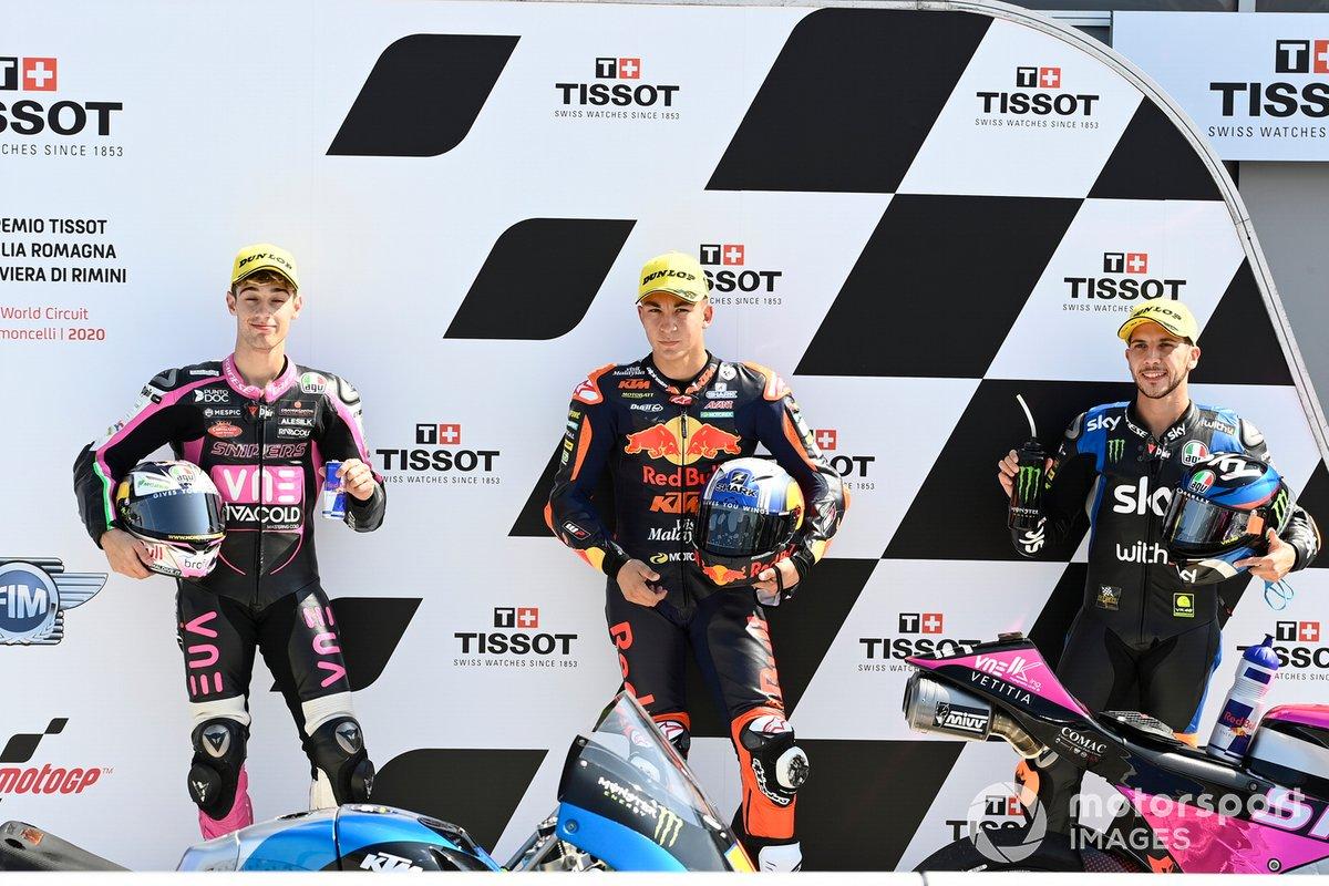 Tony Arbolino, Snipers Team, Pole winner Raul Fernandez, Red Bull KTM Ajo, Andrea Migno, Sky Racing Team VR46