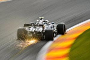 Valtteri Bottas, Mercedes F1 W11, kicks up some sparks