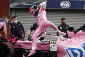 Sergio Perez, Racing Point, jumps out of his car