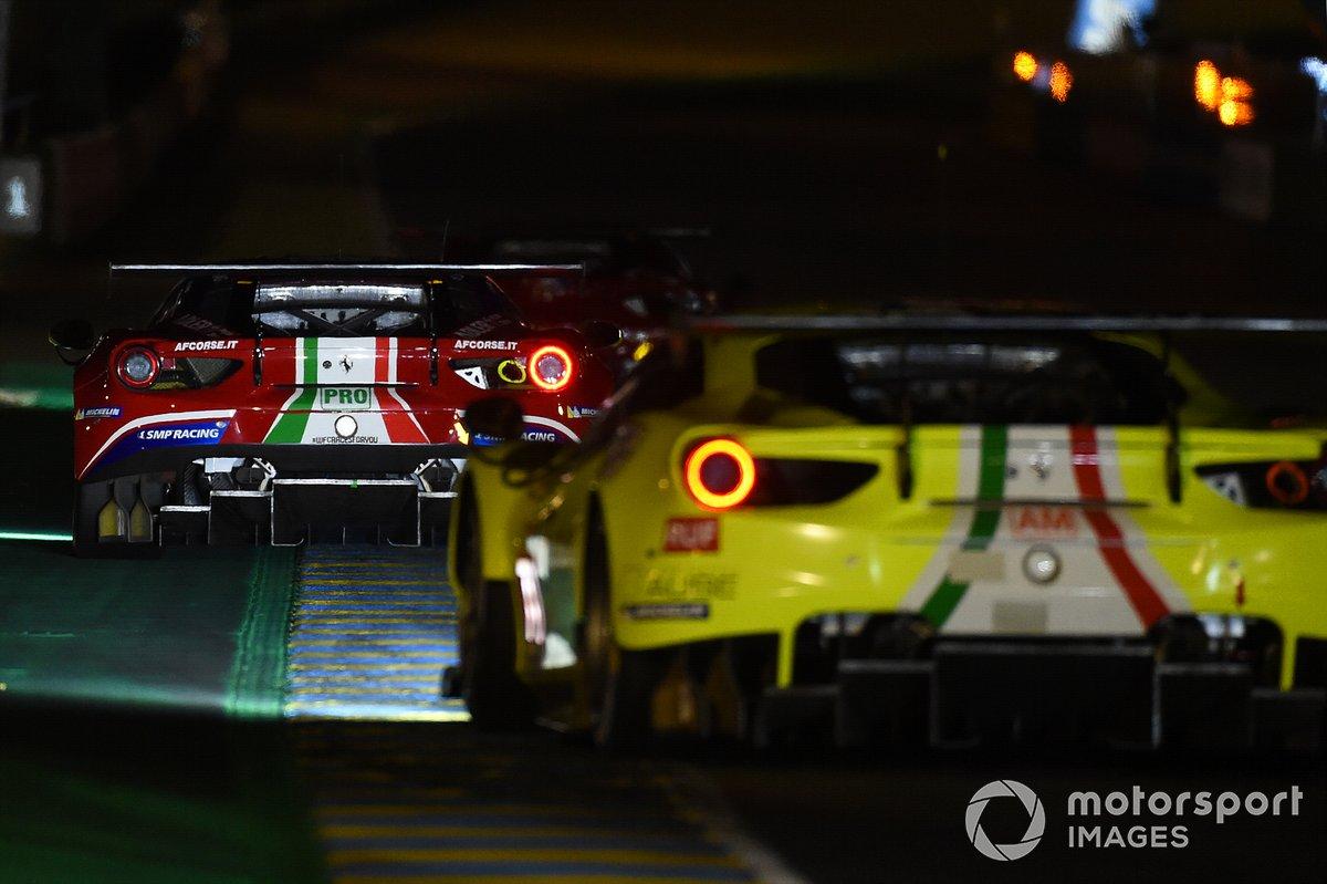#70 Mr Racing Ferrari 488 GTE Evo: Takeshi Kimura, Vincent Abril, Kei Cozzolino, #71 AF Corse Ferrari 488 GTE EVO: Davide Rigon, Miguel Molina, Sam Bird