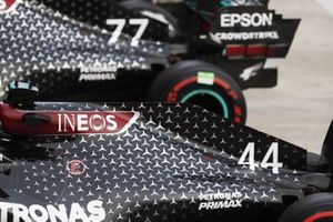 The cars of Lewis Hamilton, Mercedes F1 W11, 1st position, and Valtteri Bottas, Mercedes F1 W11, 2nd position, in Parc Ferme