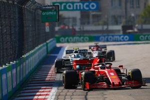 Sebastian Vettel, Ferrari SF1000, Nicholas Latifi, Williams FW43, and Kimi Raikkonen, Alfa Romeo Racing C39