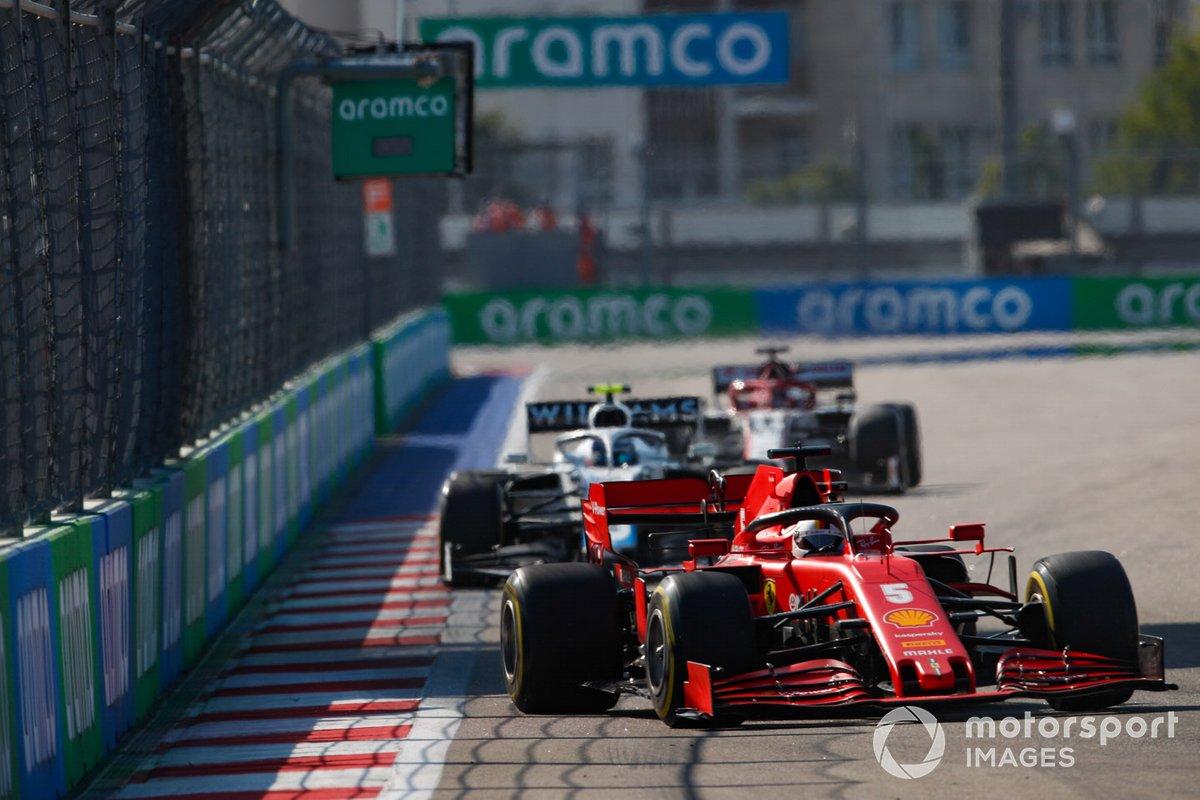 Sebastian Vettel, Ferrari SF1000, Nicholas Latifi, Williams FW43, Kimi Raikkonen, Alfa Romeo Racing C39