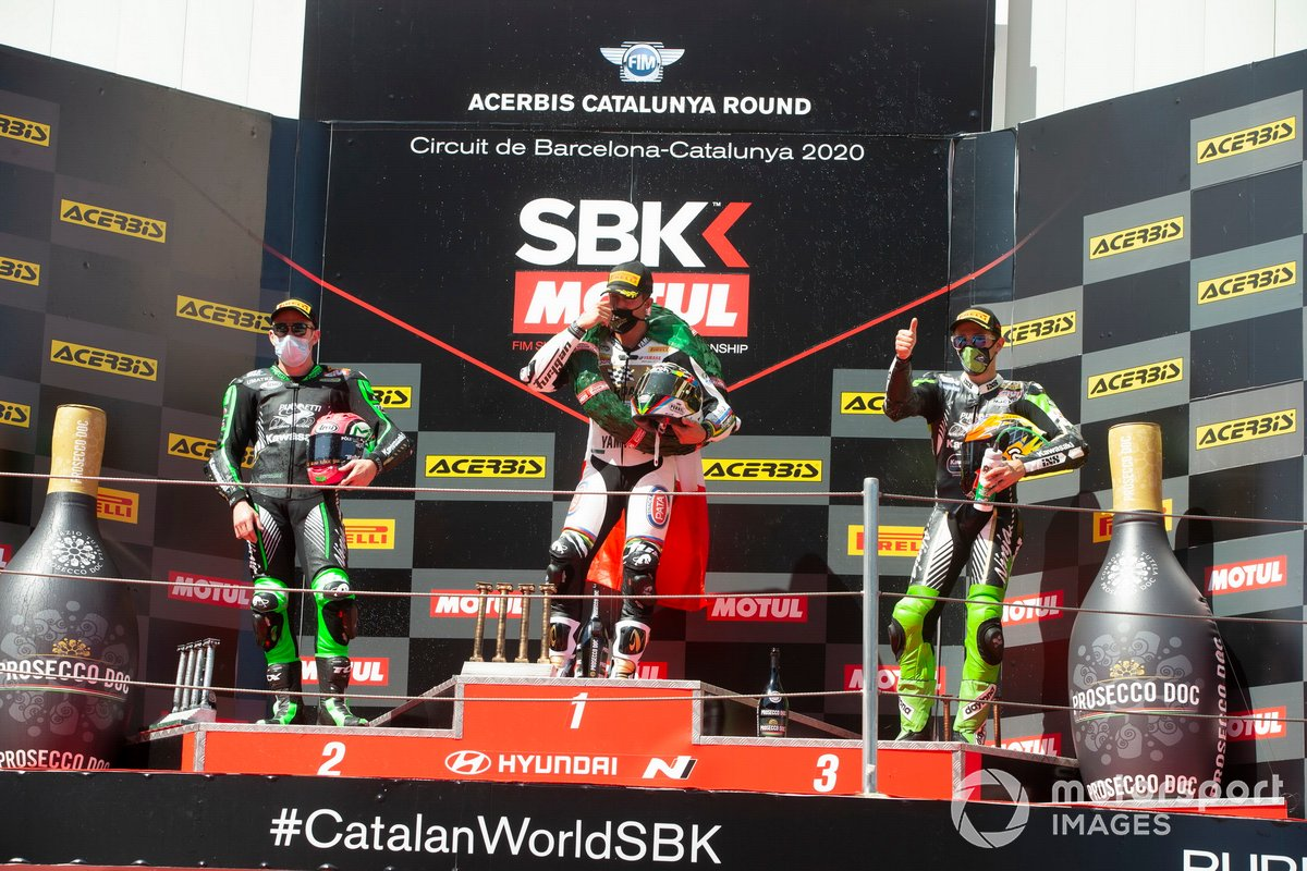 Lucas Mahias, Kawasaki Puccetti Racing, Andrea Locatelli, BARDAHL Evan Bros. WorldSSP Team, Philipp Oettl, Kawasaki Puccetti Racing