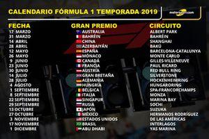 Fórmula 1 calendario temporada 2019