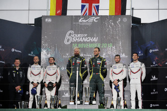 GTE Pro podium: winners #95 Aston Martin Racing Aston Martin Vantage AMR: Marco Sorensen, Nicki Thiim, second place #91 Porsche GT Team Porsche 911 RSR: Richard Lietz, Gianmaria Bruni, third place #92 Porsche GT Team Porsche 911 RSR: Michael Christensen, Kevin Estre
