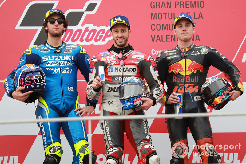 Podium: race winner Andrea Dovizioso, Ducati Team, second place Alex Rins, Team Suzuki MotoGP, third place Pol Espargaro, Red Bull KTM Factory Racing
