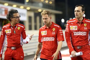 Sebastian Vettel, Ferrari walks the track with Laurent Mekies, Ferrari and Riccardo Adami (ITA) Ferrari Race Engineer