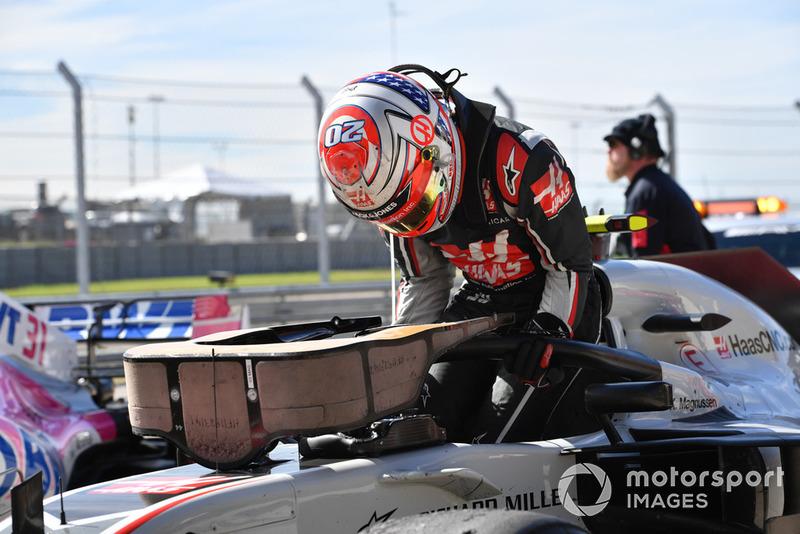 Kevin Magnussen, Haas F1 Team VF-18 en parc ferme