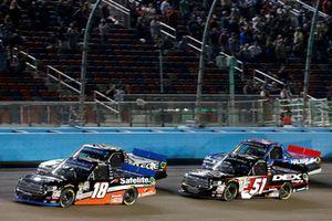 Noah Gragson, Kyle Busch Motorsports, Toyota Tundra Safelite AutoGlass, Harrison Burton, Kyle Busch Motorsports, Toyota Tundra DEX Imaging
